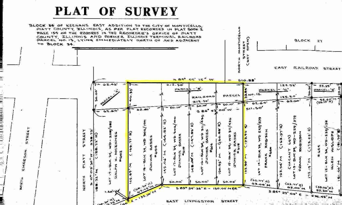 Plat of Survey 600 Block of East Livingston Street, Monticello, Piatt County, Illinois 61856